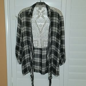(XL) American Rag Plaid Flannel Lace Cover-up